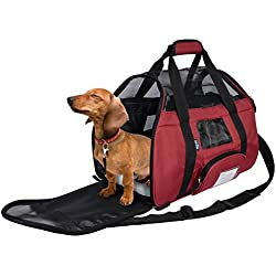 KritterWorld Soft Sided Pet Travel Carrier for Small Dogs and Cats Puppy Small Animals Airline Approved   Removable Sherpa Lining Bed, Built-in Collar Buckle, Lost & Found Tag Included by Red