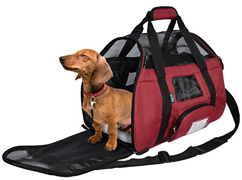 Travel Cat Carriers Airline Approved Under Seat Soft Sided Pet Tote Shoulder Bag w/ Built-in Collar Buckle & Removable Fleece Bed for Small Dogs By KritterWorld