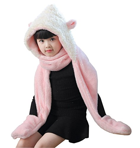 Kids Toddler Cartoon Fleece Hat Gloves Scarf 3 In 1 Set Girls Boys Winter Cute Warm Long Hoodie Earflap Hat Snood Wraps Children Baby Plush Novelty Scarf Gloves Pocket Mitten Combo, Xmas Gift