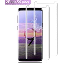 "Galaxy S9 Plus Screen Protector Glass,(2-PACK-Clear)3D Curved Dot Matrix Full Screen Samsung Galaxy S9 PLUS Tempered Glass Screen Protector (6.2"")2018 with Easy Application Tray(NOT S9)(Case Friendly)"