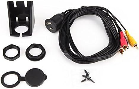edtara USB RCAフラッシュマウント、usb2.0am / AF + dc3.5F / 3rca 1M Aux防水ダッシュマウントケーブルforボートオートバイダッシュボード
