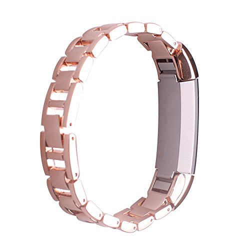 Fitbit Alta Band, Newest Premium Stainless Steel Replacement Accessory Metal Watch Bands Bracelet Strap for Fitbit Alta (No Tracker) (Rose Gold)