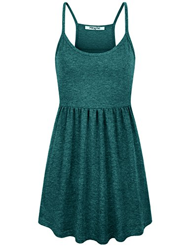 Hibelle Ribbed Tank Tops for Women, Casual Summer Spaghetti Straps Racerback Cotton Camisoles Extra Long A Line Empire Waist with Pleats Curved Hem Cami Nightgown Green Small