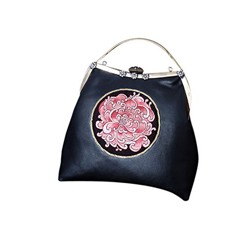 Handbag 202 Hand Embroidery Clutch Purse 100 Black Bag Evening zZRw4BTq
