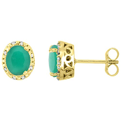 10K Yellow Gold Diamond Halo Natural Cabochon Emerald Stud Earrings Oval 7x5 mm ()
