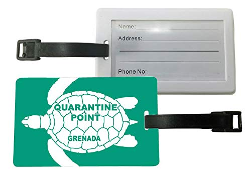 Quarantine Point Grenada Green Turtle Design Souvenir Travel Luggage Tag 2-Pack (Imports Grenada)