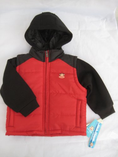 Small Paul Infant New Born Baby Boy Puffer Jacket Black/Red 18 Months