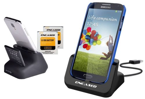 Samsung Galaxy S4 Dual Desktop Charger Dock with Spare 2600mAh NFC Battery & Battery Charging Slot - By Encased (1 Spare Battery)