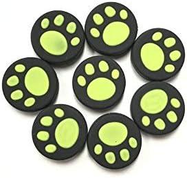 KEHUITONG Nintendスイッチ喜びコンNS NXコントローラーボタンケース猫ポウジョイスティックキャップアクセサリー用10個入りシリコーン親指グリップスティックキャップ (色 : 10 pcs Green)