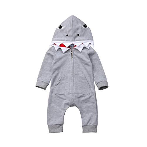 Newborn Infant Kids Boys Girls Cute Cartoon Shark Long Sleeve Zipper Hooded Romper Jumpsuit Top Outfits Clothes]()