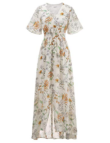 (Aupuls 2002 Summer V Neck Floral Print Chiffon Split Maxi Dress with Buttons White 3XL)