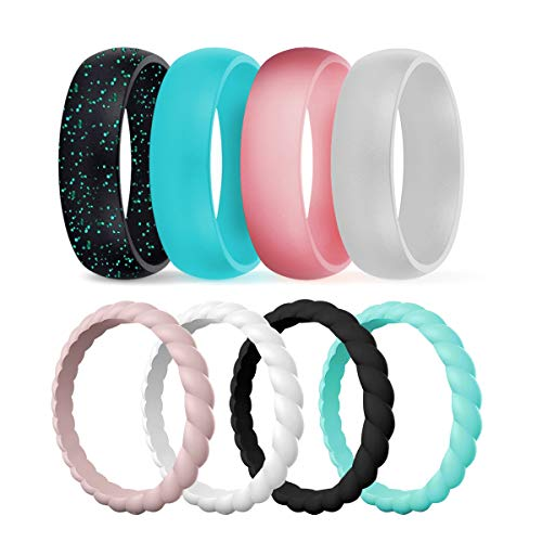 DSZ Silicone Wedding Ring for Women, Mixed Classic & Thin Rubber Band for Sports & Active Women's (Metallic Pink, Silver, Black, Turquoise, Sandpink, Turquoise, Royal Black, White, 8) ()
