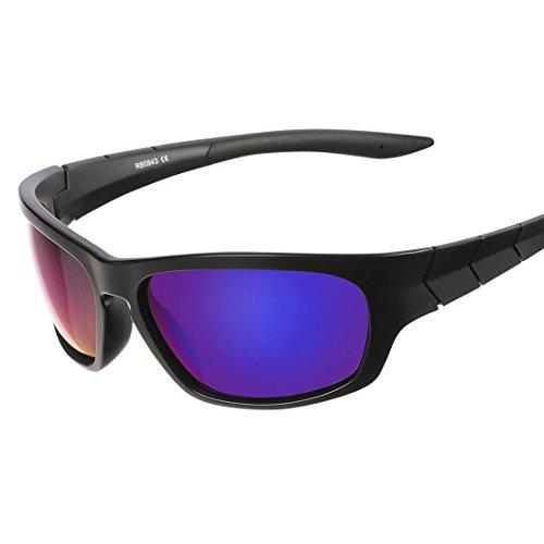 Sportbrille UV-Schutz,Sonnenbrille für Outdooraktivitäten wie Radfahren Laufen Klettern (Rot)