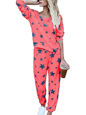 Cromoncent Womens Star Athletic Loungewear 2 Piece Outfits Casual Activewear Tracksuit Set
