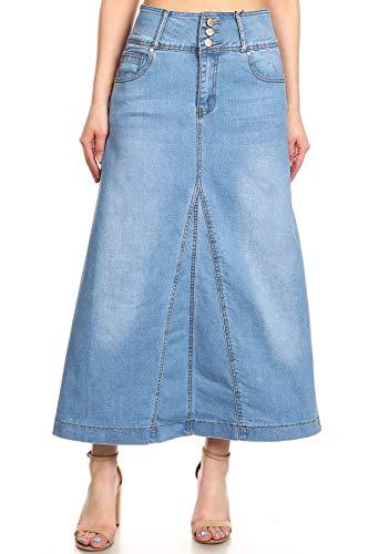 Women's Juniors High Rise A-Line Long Jeans Maxi Flared Denim Skirt in Light Blue Size XL