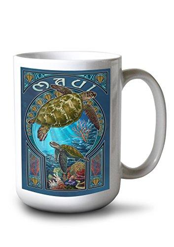 Lantern Press Maui, Hawaii - Sea Turtle Art Nouveau (15oz White Ceramic Mug) ()
