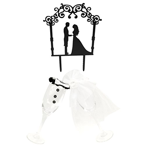 Kalevel 3pcs Engagement Cake Topper Silhouette Bride and