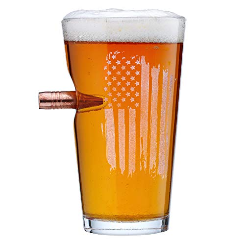 [Pack of 4]The Original BenShot US Flag Pint Glass with Real Bullet Made in the USA by Ben Shot USA