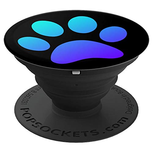Cute Blue Dog Paw Print On Black - Art Dog Lover Gift - PopSockets Grip and Stand for Phones and Tablets ()