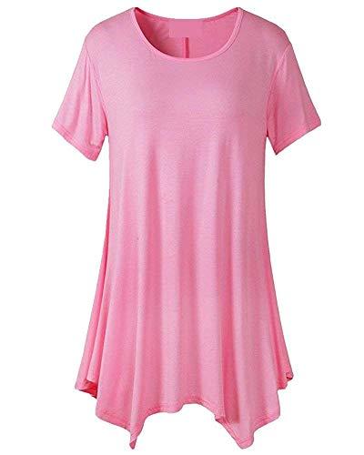 Haut Chic Shirt Elgante Longue Femme Oversize Col Manches Mode Chemise Casual Unicolore Courtes Rose Costume Tunique O Tee Baggy Et UUxTq7v
