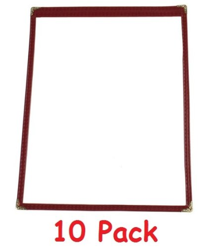 """(10) Single Menu Cover, Maroon Trimming, 8.5"""" x 11"""" (Pack of 10)"""