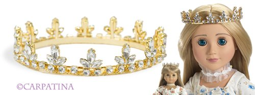 Gold Fleur De Lis Princess Doll Crown ~ Fits American Girl Dolls and Carpatina Dolls