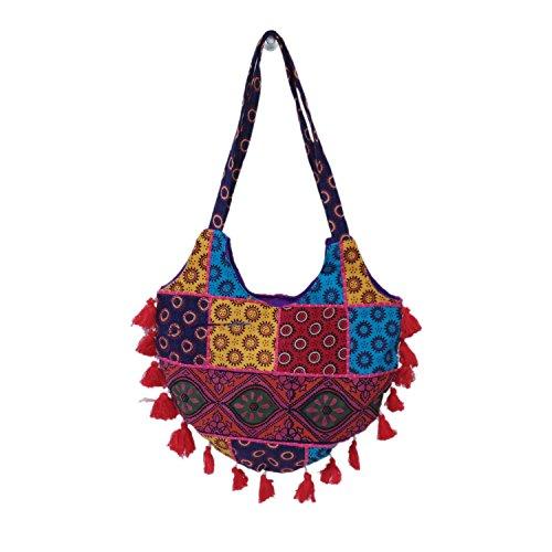 Designer rigenerata assortiti Patchwork cotone Shopping Jhola Borsa