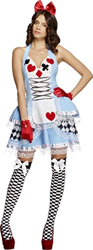 Smiffy's Women's Fever Miss Wonderland Costume, Dress and Hair Bow, Once Upon a Time, Fever, Size 6-8, 21009