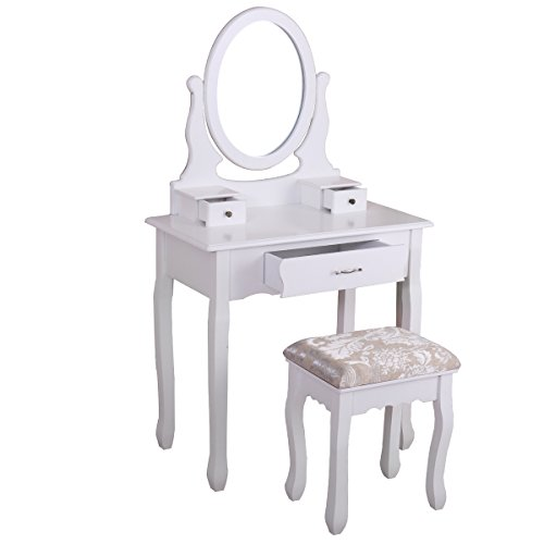 Winmart Vanity Wood Makeup Dressing Table Stool Set Jewelry Desk bathroom with Drawer Mirror White by Winmart (Image #6)