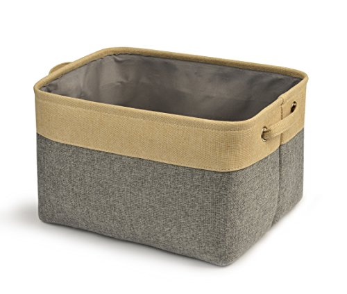 Perber Storage Bin Baskets Decorative Collapsible Rectangular Linen Storage Cube with Handles for Clothes Storage Box,Kids Toys,Pet Toys,Baby Clothing, Bedroom,Office,Closet Organizer-Grey & Beige