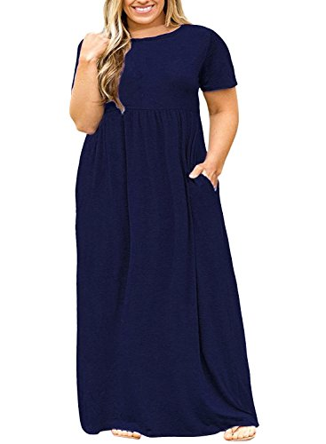 Nemidor Women Short Sleeve Loose Plain Casual Plus Size Long Maxi Dress with Pockets (Navy, 18W) -
