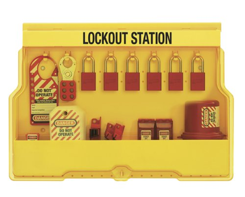 Master Lock Electrical Lockout Station, Includes 6 Aluminum ()