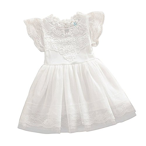 Girls White Eyelet Dress - 2Bunnies Girls Baby Vintage Lace Eyelet Bohemian Flower Girl Princess Pageant Dresses (White, 3T)