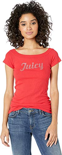 Juicy Couture Women T-shirts - Juicy Couture Women's Juicy Off The Shoulder Tee True Red Large