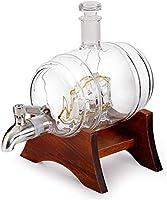 KEKEYANG Whisky Decanter Set Marco de Madera con el Grifo de Vino Barril en Forma de Botella de Cristal 1000ml con 2 Taza de Vidrio