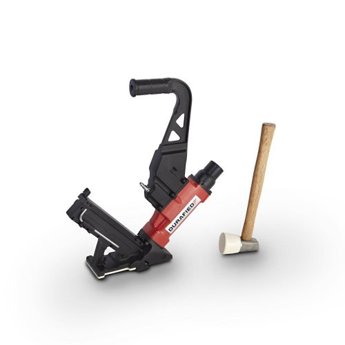 Professional Pneumatic Flooring Cleat Nailer and Stapler Gun with Non Marring Base, Case and Mallet Included