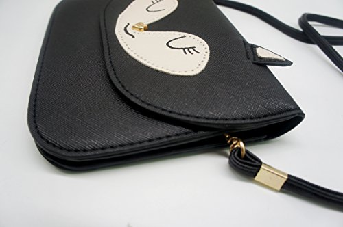 Bourse Bandoulière Téléphone Portable À Voies 2 Renard Animé Petit PU Noir Noir Dessin Sac Artone XqAvpwC