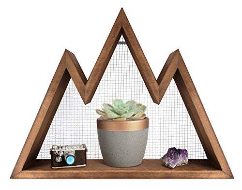 Wall Shelf Wood Floating Mountain Shelf Crystal Display Shelf Rustic Triangle Wall Art Geometric Decor for Nursery, Bedroom -Perfect Housewarming Gifts