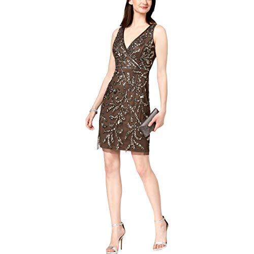 Adrianna Papell Women's Sleeve Allover Beaded Short Dress, Lead, 8 from Adrianna Papell