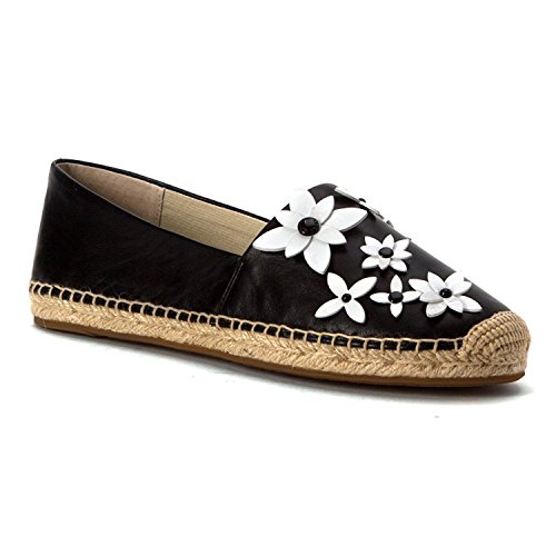 MICHAEL Michael Kors Women's Lola Espadrille Black/Optic White Nappa/Patent Sandal (Gold Paris Sandals)