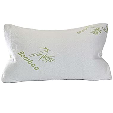Original Bamboo Shredded Bamboo Memory Foam Pillow with Ever-Cool Adaptive Technology and Deluxe Hypoallergenic Washable Cover, Queen