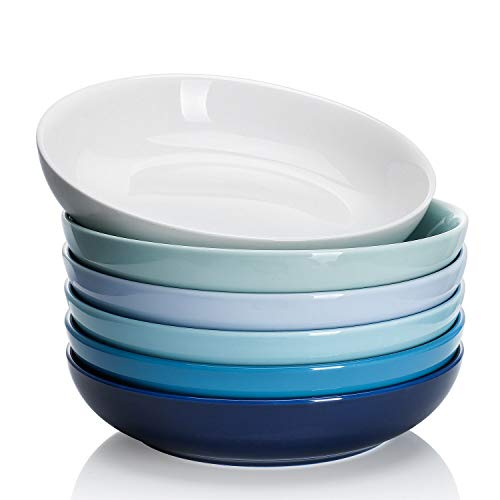 Sweese 1311 Porcelain Salad/Pasta Bowls - 22 Ounce - Set of 6, Cold Assorted Colors