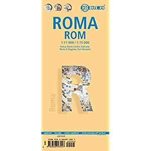 Laminated Rome City Streets Map by Borch (English, Spanish, French, Italian and German Edition)