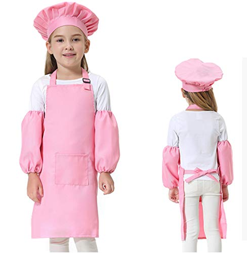 CRIZAN Kids Child's Chef Hat Apron Set For Girl or Boy(4 Pieces) (Pink)]()