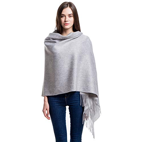 - Cashmere Wrap Shawl Stole for Women, Winter Extra Large(79in x 28in) Wool Scarf, Light Gray