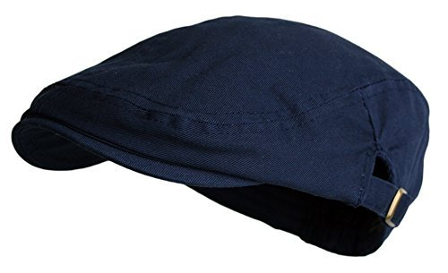 Men's Cotton Flat Cap Ivy Gatsby Newsboy Hunting Hat, Navy, One Size