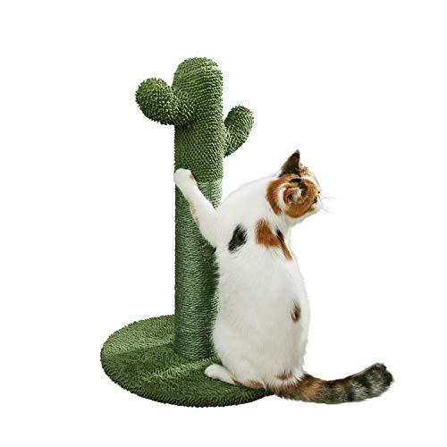 PetnPurr Cat Scratching Post with Teaser Ball Toy, Green Cactus (Dj Cat Scratch)