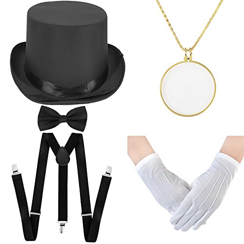 Halloween Costume Set - Felt Top Costume Hat, Y-Back Suspenders & Pre Tied Bow Tie, Necklace Optical Magnifier,Formal Tuxedo Gloves (Black)