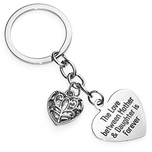 XYIYI Mother's Day Gift Love Between Mother Daughter Is Forever Double Heart Key Chain Ring for Family Women