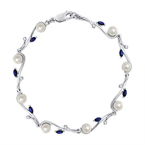 KATARINA Diamond and Pearl with Marquise Cut Sapphire Fashion Bracelet in 14K White Gold (6 3/4 cttw, G-H, I2-I3)